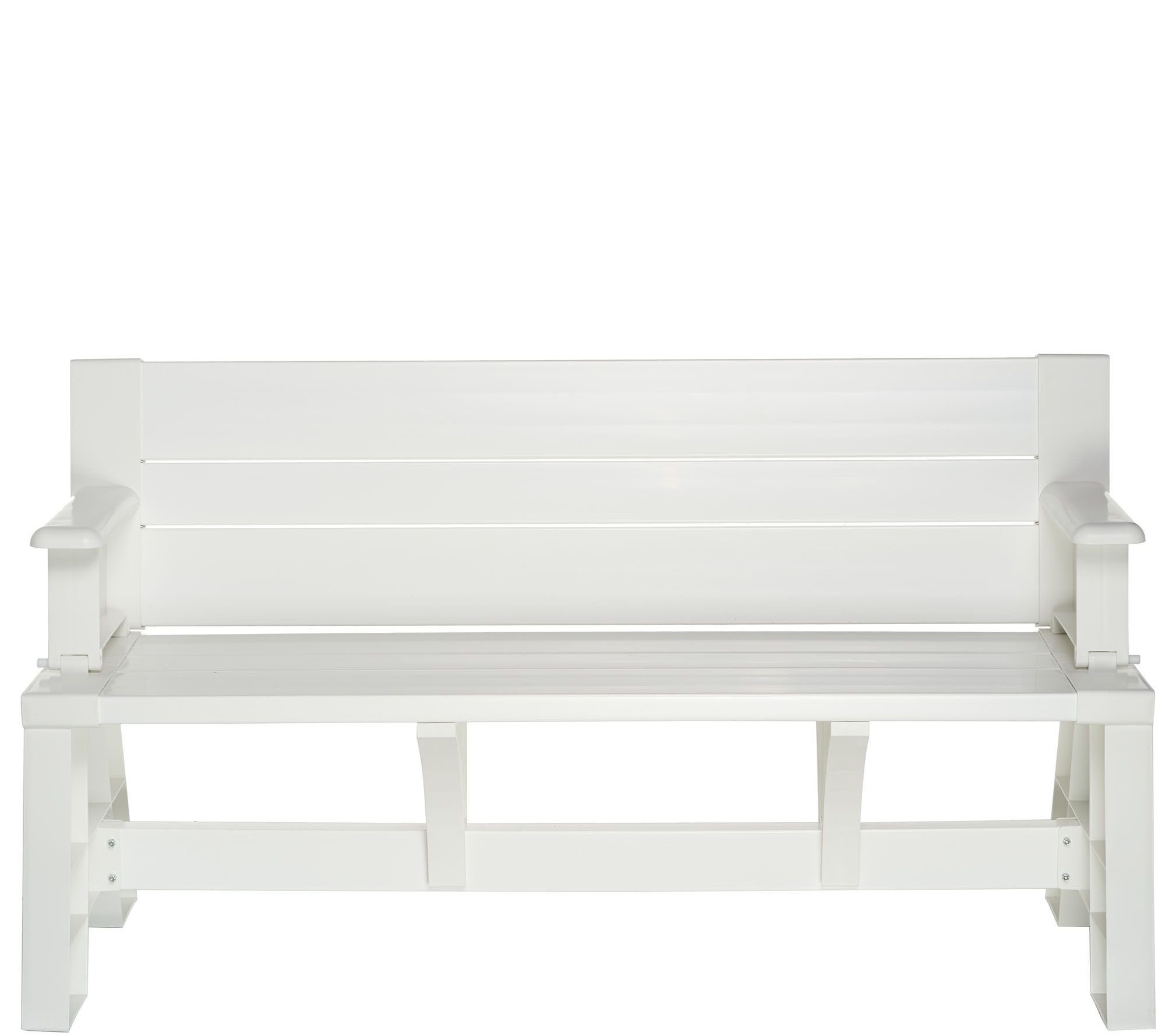 Garden Furniture Qvc convert-a-bench basic color outdoor 2-in-1 bench-to-table w/5 year