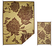 Barbara King Floral 8x11 Reversible Outdoor Mat w/Matching 3x5 - M49437