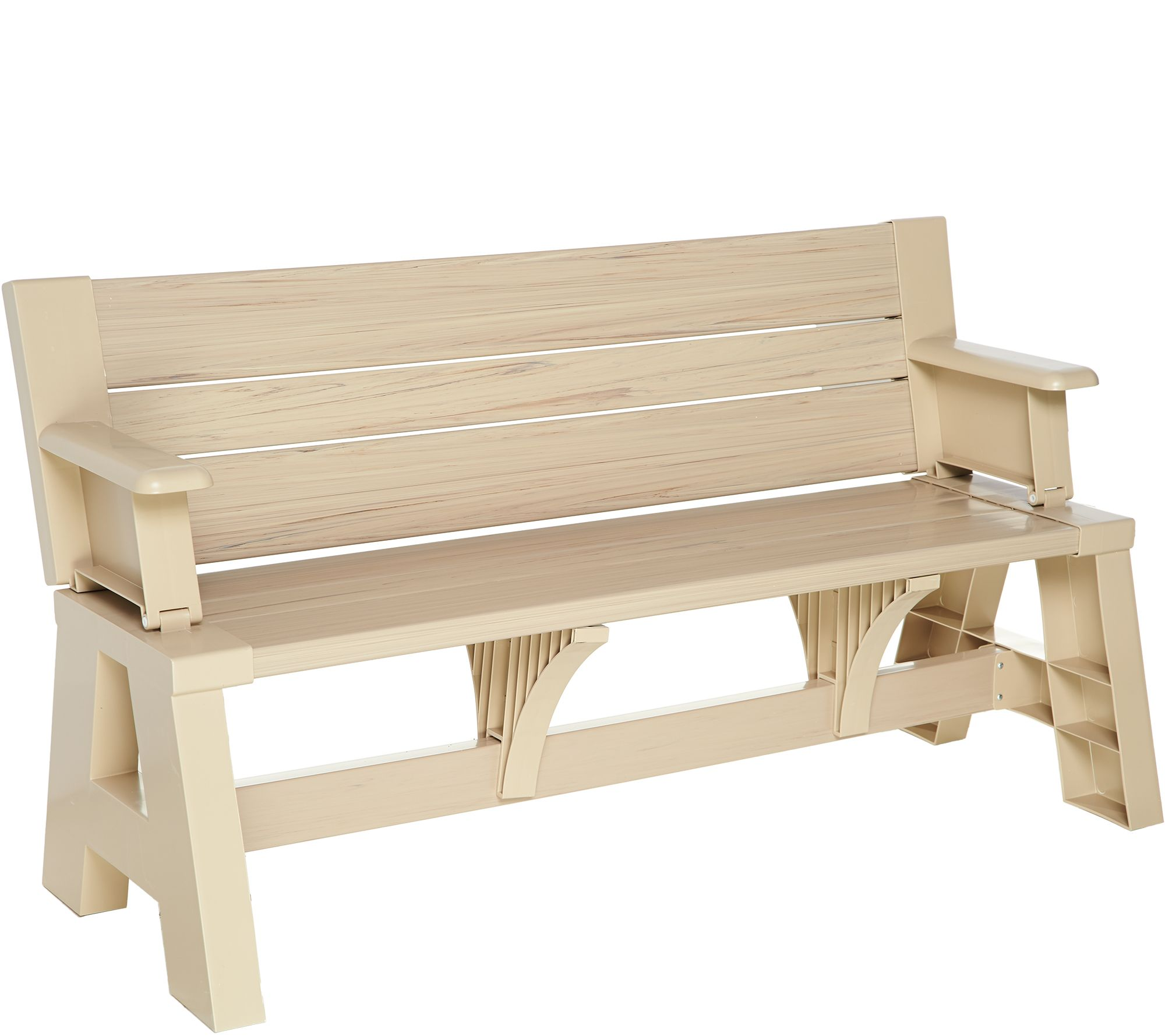 Wooden moon chairs - Convert A Bench Faux Wood Outdoor 2 In 1 Bench To