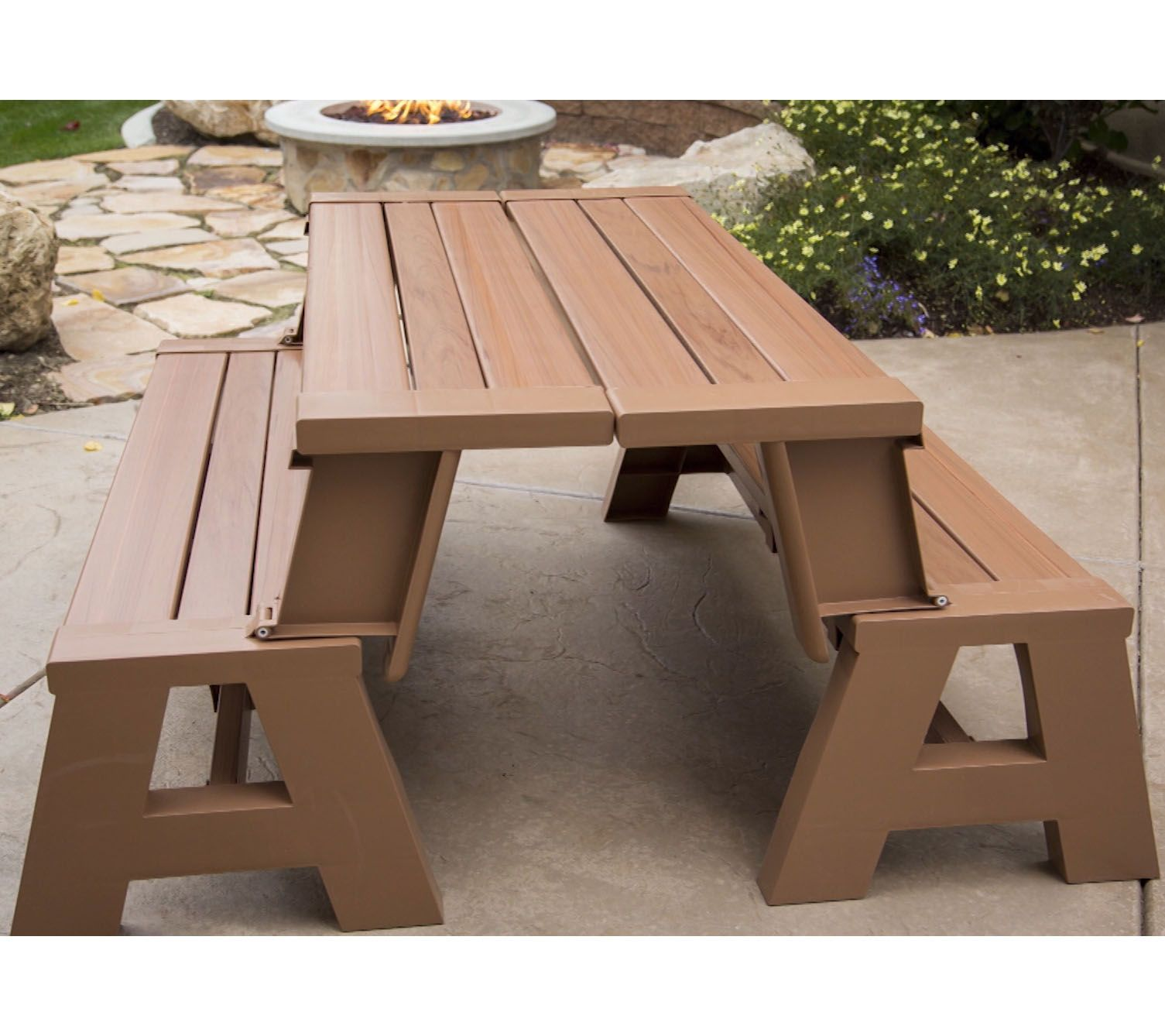Garden Furniture Qvc convert-a-bench faux wood outdoor 2-in-1 bench-to-table w/ 5 year