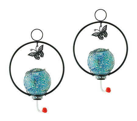 Set of Two Mosaic Glass Hanging Hummingbird Feeders