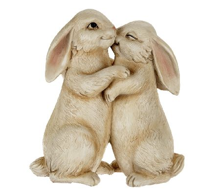Plow & Hearth Polyresin Snuggle Bunnies Garden Statue