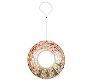 Glass Mosaic Circle Fly-Thru Bird Feeder w/ Hanging Wire by Evergreen - M43540