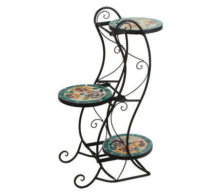 Decorative 3-Tier Mosaic Glass Plant Stand