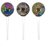 Set of 3 Mosaic Glass Water Globes by Evergreen - M49241