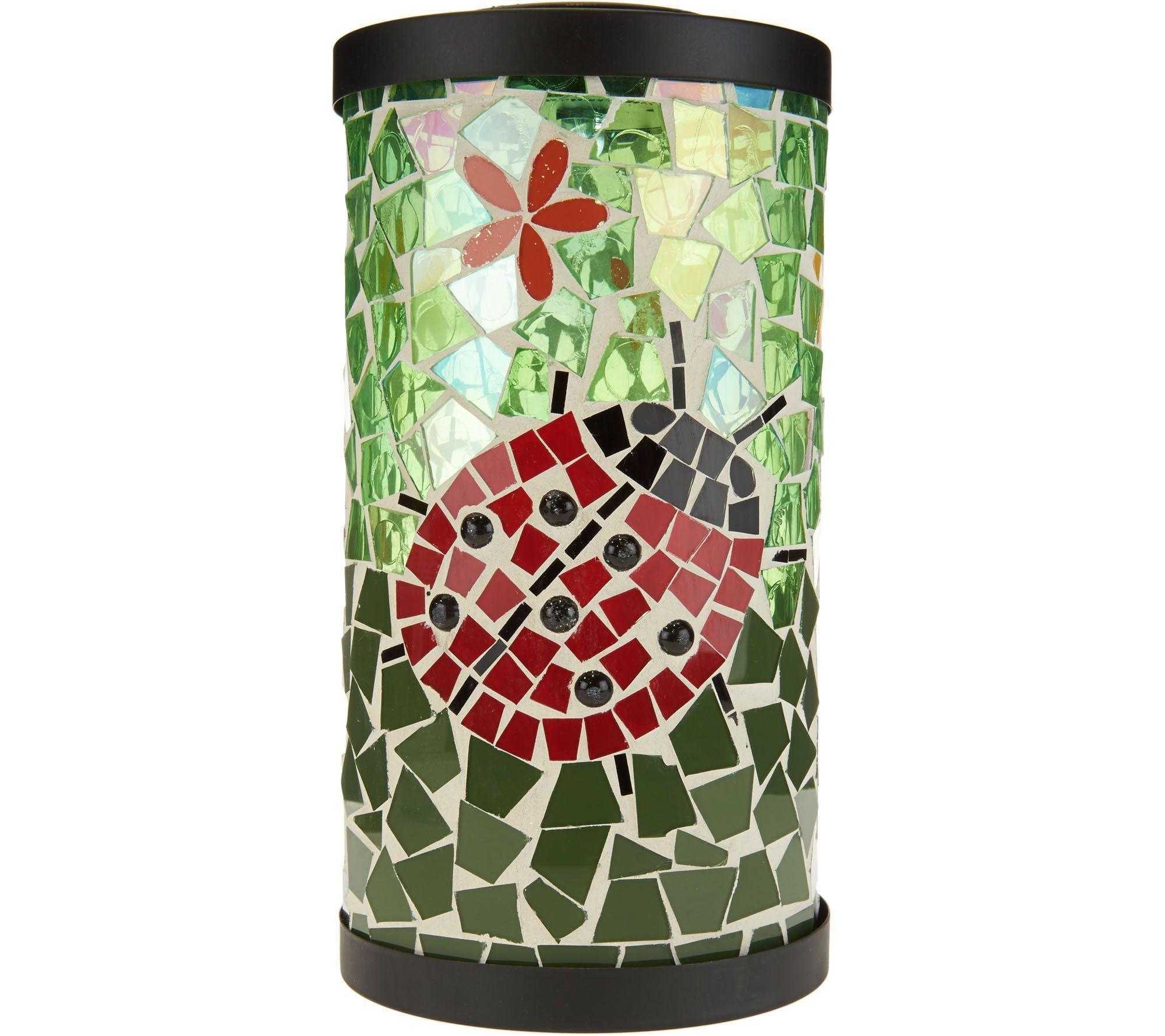 Cottage lighthouse lamp 3 colors - Plow Hearth Solar Mosaic Glass Lantern M52141