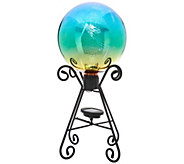 Plow & Hearth Solar Gazing Ball with 3D Image and Stand - M55741