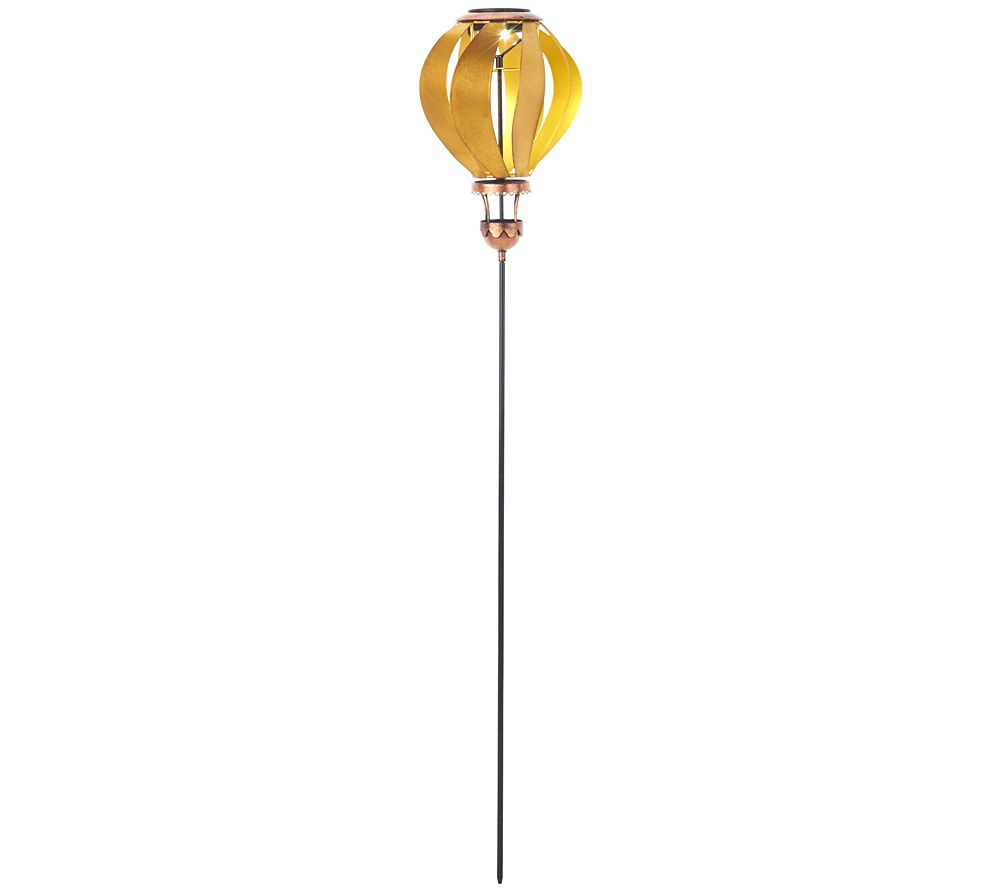 Solar Vintage Kinetic Hot Air Balloon Garden Stakes
