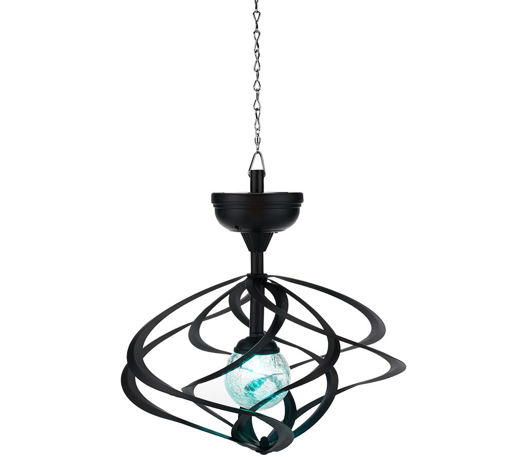 Qvc Outdoor Wall Lights: Compass Home Solar Hanging Double Wind Spinner W/ Color