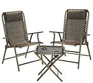 Bliss Hammocks Folding Outdoor Patio Set with 2 Chairs and Side Table - M55943
