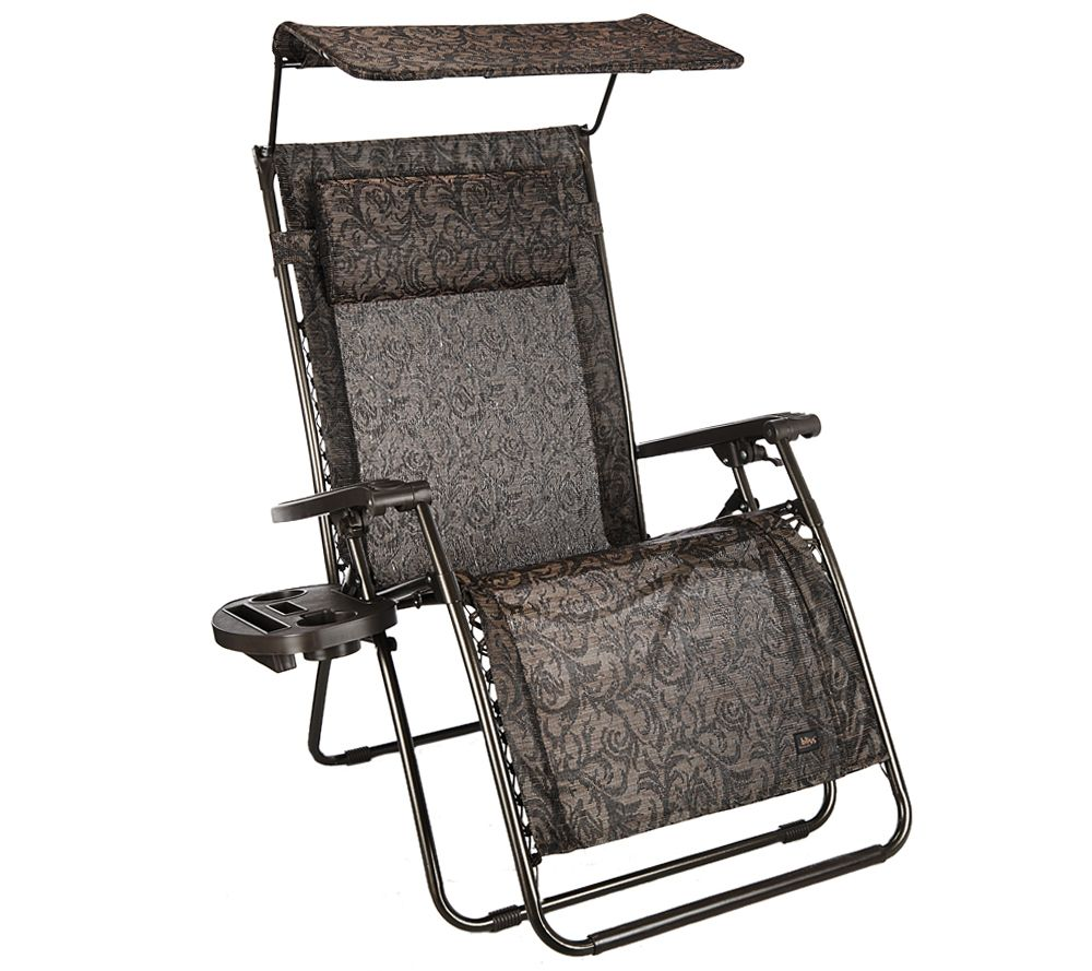 Medium image of bliss hammocks deluxe xl gravity free recliner with canopy  u0026 tray   page 1  u2014 qvc