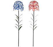 Set of 2 Phlox Metal Garden Flower Stakes by Evergreen - M52145