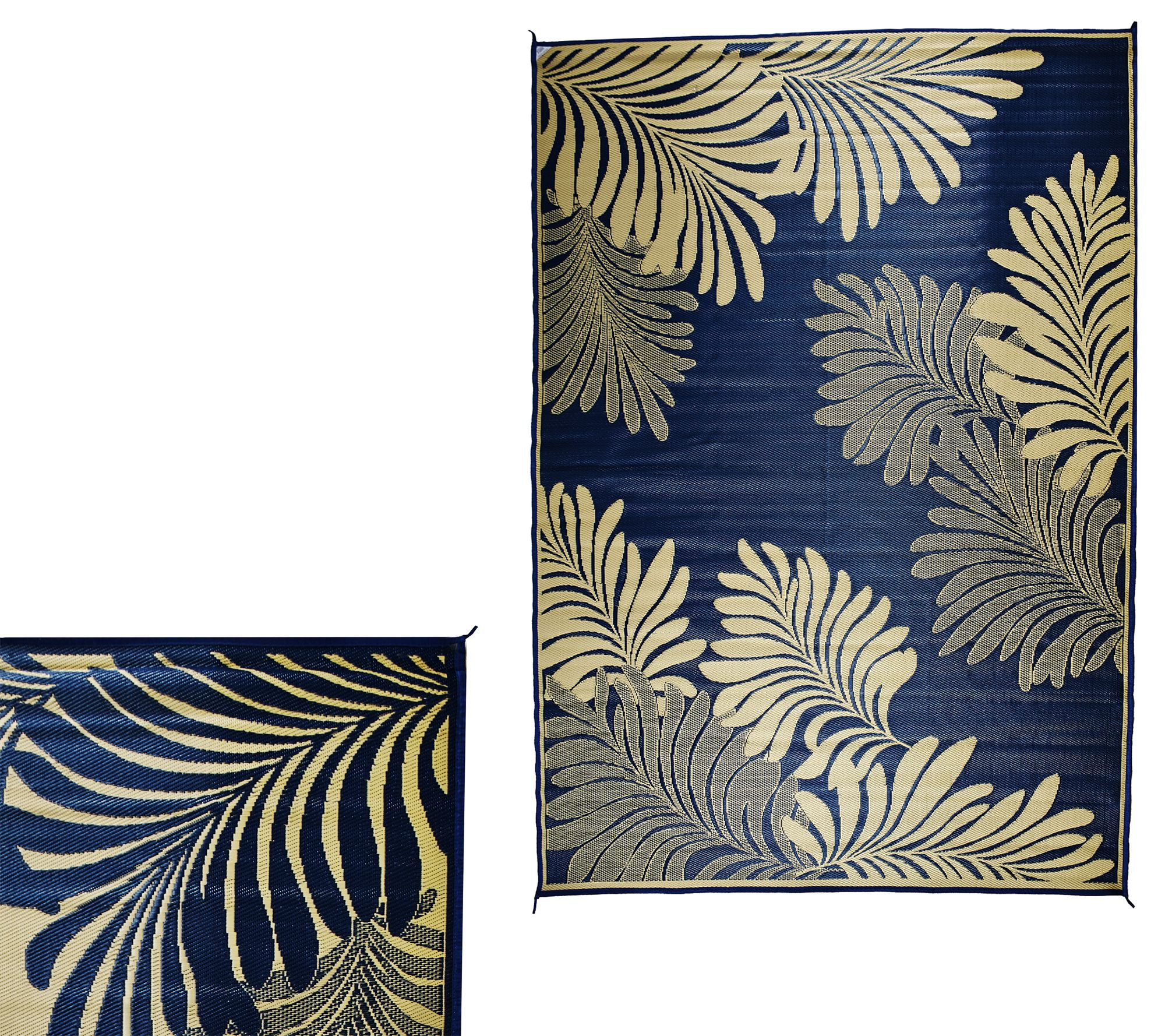 Barbara King Leaf Design Reversible Outdoor Mat