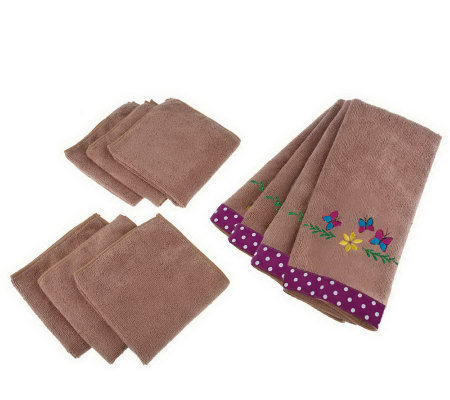 Don Asletts Set Of 10 Microfiber Kitchen Towels And Cloths