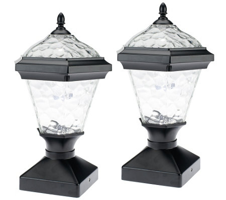 modern elegance westinghouse 2 pc adonia solar post light set qvc. Black Bedroom Furniture Sets. Home Design Ideas