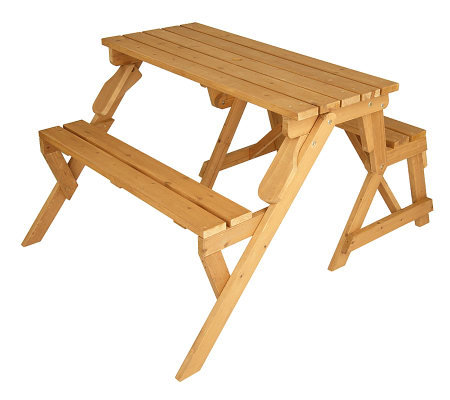 Solid Wood 2 In 1 Picnic Table Garden Bench Qvc Com