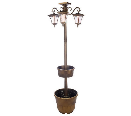 solar powered white amber led lamp post w 3 lanterns tiered. Black Bedroom Furniture Sets. Home Design Ideas