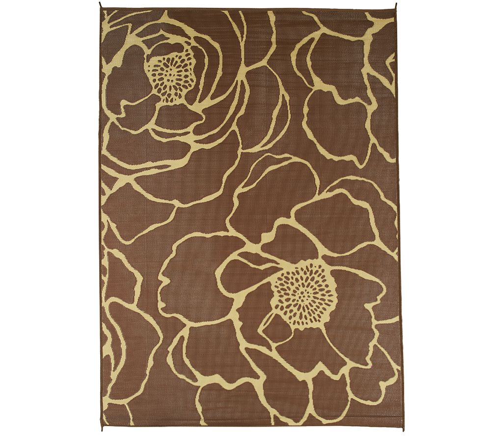 Barbara King Bloom 8 X11 Reversible Outdoor Mat By