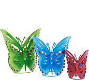 Plow & Hearth Set of 3 Jeweled Butterfly Planters - M55759