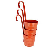 Barbara King Set of 3 Metal Bucket Hanging Planters - M55964