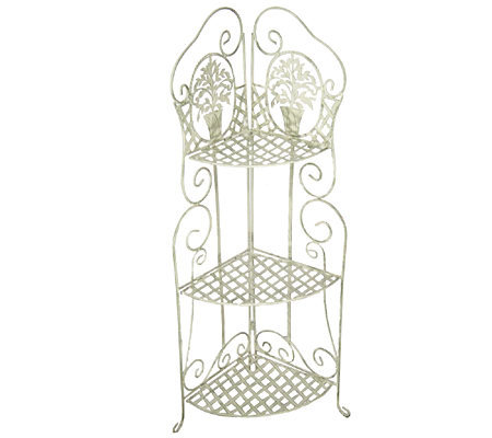 wrought iron 3 tier corner shelf m8966. Black Bedroom Furniture Sets. Home Design Ideas