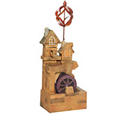 Plow & Hearth Solar Watermill Fountain with Spinner - M53369