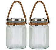 S/2 Decorative Solar Jars w/Twisted Rope Handles by Smart Solar - M45770
