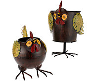 Plow & Hearth Set of 2 Weather Resistant Rooster Planter - M44371
