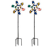 Plow & Hearth Set of 2 Feather Garden Spinners - M48771