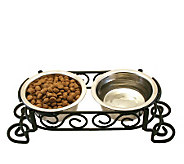 Scrollwork Double Diner 1-pint Dog Dish - M109272