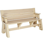 Ship 4/17/17 Convert-a-Bench Faux Wood Outdoor 2-in-1 Bench-to-Table - M54473