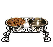 Scrollwork Double Diner 1-qt Dog Dish - M109274