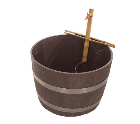 26 Gallon Whiskey Barrel Water Garden With Bamboo Fountain