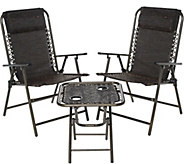 Bliss Hammocks Folding Outdoor Patio Set with 2 Chairs and Side Table - M52475