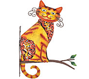 Plow & Hearth Tabby Cat Painted Iron Wall Sculpture - M47176