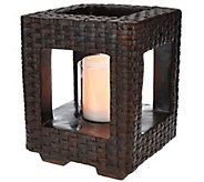 Scott Living 10 Woven Lantern with Glass Hurricane and Timer - M48577