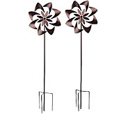 Plow & Hearth Set of 2 Flower Garden Spinners - M45478