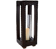 Scott Living 23 Woven Lantern with Glass Hurricane and Timer - M48579