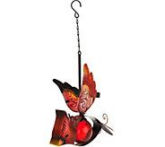 Solar Glass & Metal Hanging Bird - M52379