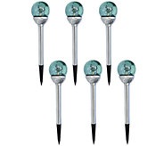 Compass Home Set of 6 Mercury Glass Solar Pathlights - M42781