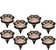 Set of 8 Solar Powered Paw Print Garden Lights - M52181