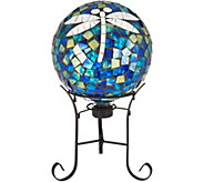 10 Mosaic Glass Tile Gazing Ball with Iron Stand - M51782