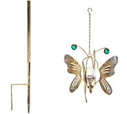 Compass Home 2-in-1 Hanging Solar Butterfly Wind Spinner - M51983