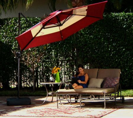 Southern Casual 10 Ft. 3 Layer Round Offset Umbrella With Blow MoldedBase    Page 1 U2014 QVC.com