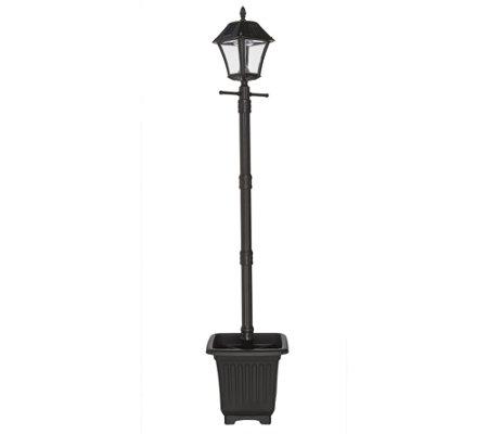 gama sonic 6 39 solar lamp post with planter ez anchor m48786. Black Bedroom Furniture Sets. Home Design Ideas