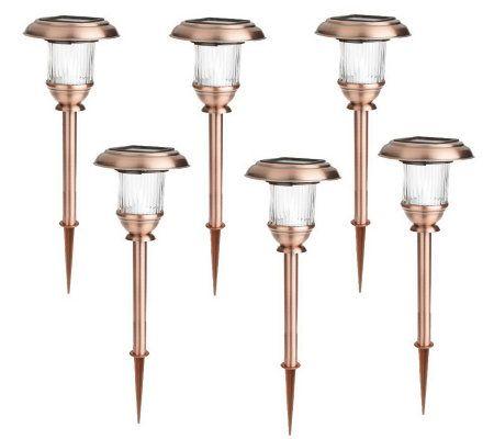 Alpan Lighting 6 Piece Copper Finish Solar Pathway Light ...