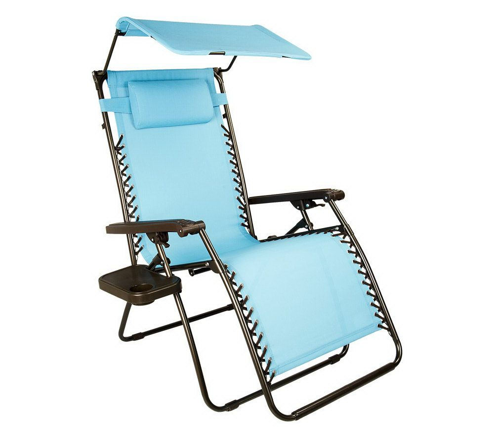 Medium image of bliss hammocks xl gravity free recliner w tray  u0026 canopy with uv protection   page 1  u2014 qvc