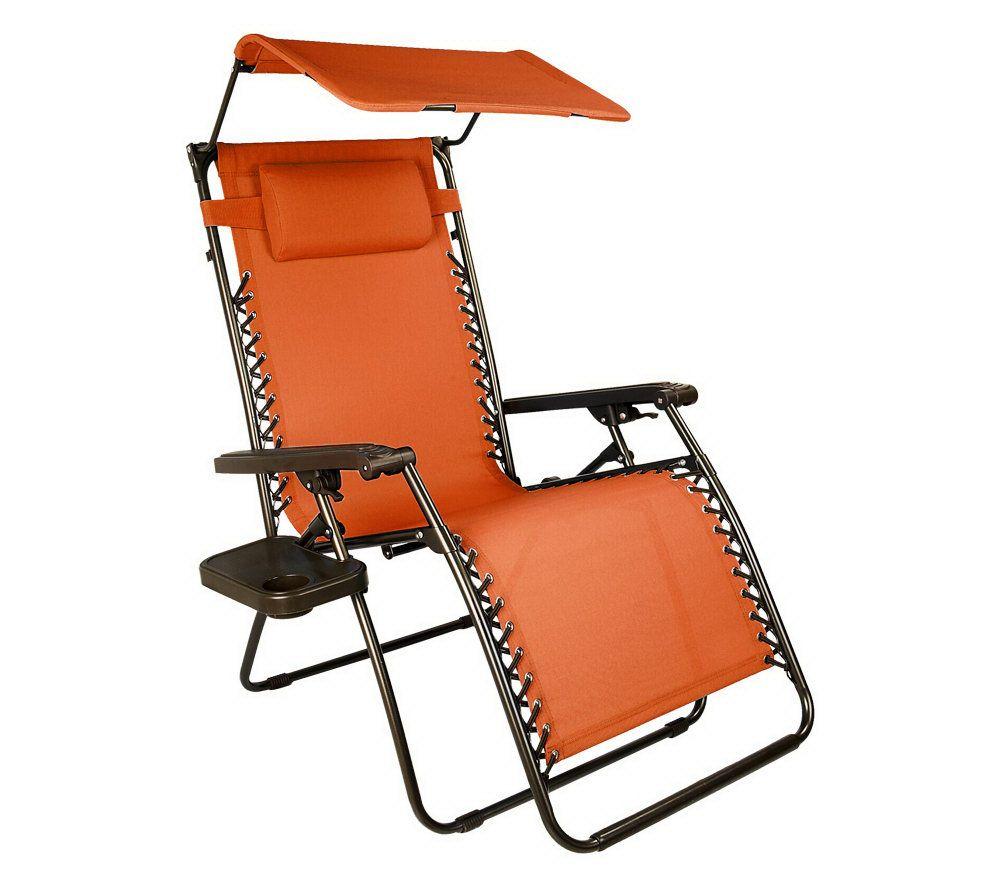 Garden Furniture Qvc bliss hammocks xl gravity free recliner w/tray & canopy with uv