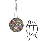 Plow & Hearth Solar Crystal Globe with Stand & Hanging Chain - M55393
