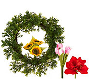 Barbara King 22 Changeable Faux Boxwood Wreath with 3 Florals - M51994